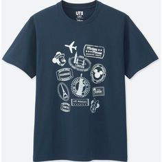 UNIQLO Men's Mickey Travels Short-sleeve Graphic T-Shirt ($15) ❤ liked on Polyvore featuring men's fashion, men's clothing, men's shirts, men's t-shirts, navy, mens graphic t shirts, mens travel shirts, uniqlo men's shirts, mens short sleeve shirts and mens navy blue shirt