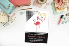 Flamingo Baby Shower Invitation- Pretty in Pink- Let's Flamingle- Bridal Shower- Birthday- Gold- Hot Pink- Digital File- Printable by 4414Designs on Etsy