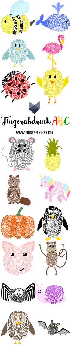 The big fingerprint ABC - crafting with fingerprint crafting made easy! - The big fingerprint ABC – crafting with fingerprint crafting made easy! Handicrafts with fingerpr - Abc Crafts, Preschool Crafts, Diy Crafts For Kids, Arts And Crafts, Craft Ideas, Fingerprint Crafts, Color Crafts, Creative Gifts, Kids And Parenting