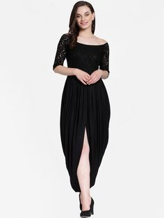7a71235855f Shop Cation Women Black Solid Lace Maxi Dress from Shoprapy !