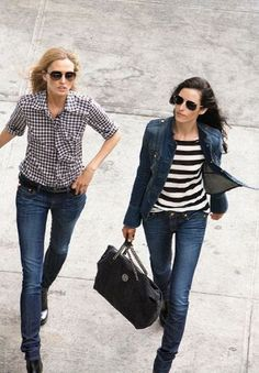 Gingham or stripes with denim. Yes.