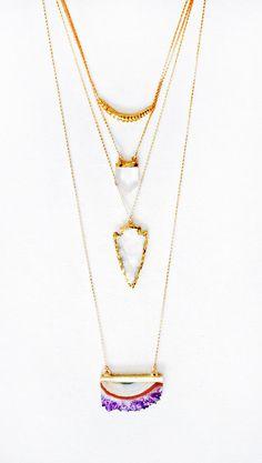 Crystal Quartz Arrowhead Necklace by keijewelry on Etsy