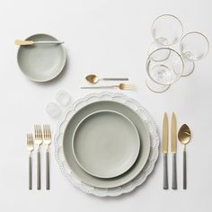 RENT: Signature Collection Chargers + Heath Ceramics in Mist + Axel Flatware in Matte 24k Gold/Silver + Chloe 24k Gold Rimmed Stemware + Antique Crystal Salt Cellars  SHOP:Chloe 24k Gold Rimmed Stemware