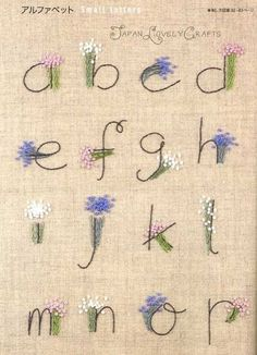 Japanese Embroidery Flowers Stitch Sampler Patterns - Japanese Hand Embroidery Designs, Alphabet, Floral… - Jewelry Of The Week - Earthy/Bohemian Bracelet and Necklace Set Embroidery Alphabet, Embroidery Monogram, Hand Embroidery Stitches, Crewel Embroidery, Hand Embroidery Designs, Embroidery Techniques, Ribbon Embroidery, Embroidery Books, Machine Embroidery