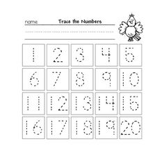 Trace the Numbers 130 Kiddo Shelter Kids Worksheets