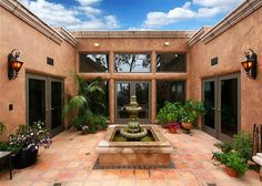 #Spanish style courtyard with #fountain