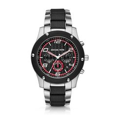Caine Stainless Steel and Silicone Chrono Watch A black and white herringbone-textured dial with racing red accents adds rugged distinction to the stainless steel Michael Kors Caine watch. The sporty bracelet features alternating stainless steel and black silicone links.