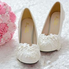 White Lace Formal Wedding Shoes Bridesmaid Bridal Flats / Low / High Heels Shoes