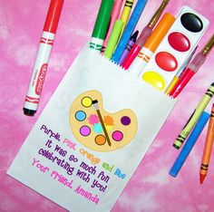 Arts and Crafts Birthday Party, Painting Party Favor Bags, Candy Bags, Goody Bags, Set of 25. $22.00, via Etsy.