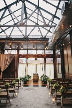 The urban-chic indoor wedding takes a rustic spin in this autumn wedding held at the Brooklyn Winery and photographed by Clean Plate Pictures Industrial Wedding Venues, Rustic Wedding Venues, Wedding Ideas, Wedding Colors, Wedding Styles, Wedding Flowers, City Wedding Venues, Wedding Planning, Wedding Destinations