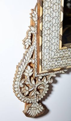 For Sale on - A very large late century Syrian mirror combining French and Middle Eastern influences sometimes described as Moorish or French Colonial. Islamic Decor, Islamic Art, Islamic Patterns, Islamic Designs, Diy Wall Decor For Bedroom, Mirror Painting, Antique Frames, Diy Mirror, Mirror With Lights