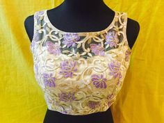 white and purple floral blouse