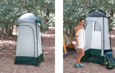 Gigatent Stinky Pete Shower Tent - This shelter has several uses; you can use it as a shower or toilet enclosure or as a portable changing room. A self draining floor allows water to run off and a mesh ceiling provides maximum air flow. There is a large window in the back wall for added airflow. A large hook is sewn to the top to hang up to a 2.5 gallon shower. A rain fly on top keeps the inside protected and provides privacy.
