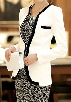 White Patchwork Pockets Casual Slim Blazer