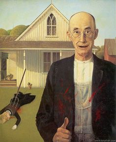 American Psycho Gothic American Psycho Gothic Probably The Most Parodied Painting On Earth American Psycho Gothic 36 Pop Cultural Reinventions Of The American Gothic Painting American Gothic Painting, American Gothic House, Grant Wood American Gothic, American Gothic Parody, American Psycho, Gothic Horror, Gothic Art, Horror Art, Cultura Pop