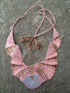 Dusty Rose Freeform Beaded Macrame Necklace with Lavender Druzy Cabochon
