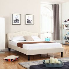 #giving Turn your bedroom into a luxury suite with this beautiful, low profile bed frame with headboard by Divano Roma Furniture. Made out of durable linen with...