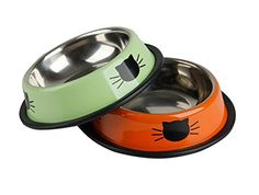 KYZ Stainless Steel Cat Bowl Dog Food Bowl Metallic Puppy Feeder Bowl Colors Vary For Small Dogs And Cats 2 Pack(Orange And Green) ** Find out @