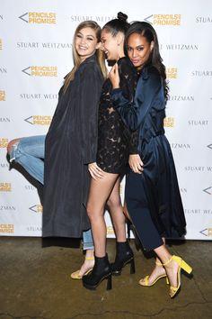 Gigi and Bella Hadid Joan Smalls and Solange Celebrate Stuart Weitzman and Pencils of Promise