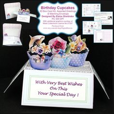 Birthday Cupcakes  3D Pop-Up Box Card Kit by DigitalHeaven on Etsy