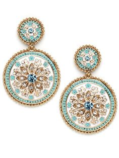 Fabulously exotic, these enamel and gold-plated pendant earrings feature mosaic-like florals embellished with pops of crystal bling Jewelry Shop, Jewelry Accessories, Fashion Accessories, Fashion Necklace, Fashion Jewelry, Fashion Fashion, Fashion Women, Fashion Shoes, Winter Fashion