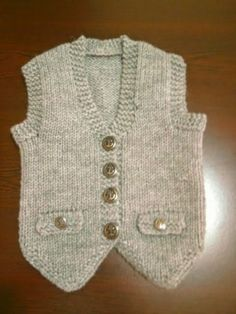 Knit vest models the Baby Knitting Patterns, Baby Sweater Knitting Pattern, Knitting For Kids, Knitting Designs, Baby Patterns, Baby Cardigan, Baby Boy Vest, Baby Pants, Knit Vest