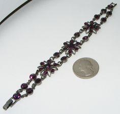 Purple Rhinestone flower BRACELET costume jewelry