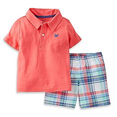 This adorable 2-Piece Jersey Polo Top and Short Set from Carter's will have your little boy looking cool, comfy, and modern whether he is happily playing at home or you are enjoying a day out at the park.