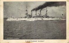 "Postcard U S Navy Battleship ""Kansas"" - used 1908 - Great White Fleet"