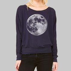 7afc44c6 Womens Long Sleeve Full Moon Shirt // Dolman Shirt, Work Tshirts, Plus Size  Clothing, Scoop Boat Neck, Bella Flowy