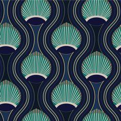 Mitchell Black Home Riviere Marine Prepasted Wallpaper Motifs Art Nouveau, Motif Art Deco, Art Deco Design, Art Deco Fabric, Paper Wallpaper, Wallpaper Roll, Art Deco Wallpaper, Art Deco Artwork, Bold Wallpaper
