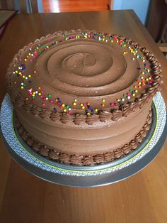 Simple yellow cake with chocolate buttercream