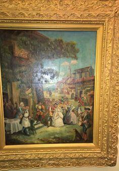 19th Century French Folk Painting of a Wedding Scene