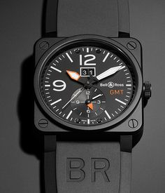 Dual Time Zone / Optimum Legibility Bell & Ross the BR 03-51 GMT Carbon (PR/Pics http://watchmobile7.com/data/News/2013/09/130905-bell_and_ross-BR_03-51_GMT_CARBON.html) (1/2) #watches #bellandross @Belle C & Ross
