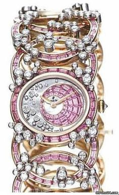 Audemars Piguet Millenary Precieuse Diamond and Pink Sapphire Rose Gold Ladies Watch 79385OR.ZF.9187RC.01  $337,428 #AudemarsPiguet #watch #watches #chronograph 18 kt rose gold case with an 18 kt rose gold bracelet made of oval-shaped rings set with sapphires and diamonds.