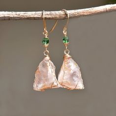 Rose Quartz Earrings in Gold Filled with Green Swarovski Crystal Beads. Raw Stone Earrings. Raw Stone Jewelry. Ping Jewelry. Free Shipping.  https://www.etsy.com/il-en/listing/251758777/rose-quartz-earrings-in-gold-filled-with?ref=shop_home_active_6