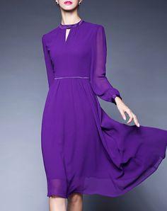#AdoreWe #VIPme Swing Dresses - GYALWANA Classic Purple Keyhole Chiffon Swing Midi Dress - AdoreWe.com