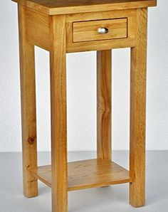 Wellington Oak New Solid Oak Compact Tall Slim Small Telephone / Phone /  Console / Lamp. Small Side TablesLight ...