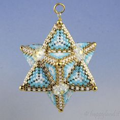 Tetrahedron Star, peyote pattern for pendant
