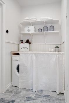 laundry room//clever way to hide what's behind. #laundry #storage