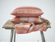 Plaids - ML Fabrics Stoffen Groothandel - Linnen & Wol Striped Cushions, Red Cushions, Pillows, Cushion Fabric, Linen Fabric, Red Plaid, Soft Furnishings, Color Trends, Ibiza