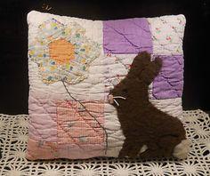 Keepsake BUNNY Rabbit Applique PILLOW handmade from ANTIQUE Patchwork QUILT