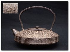 FINE Japanese Antique FLAT Type Old Tea Pot Kettle Tetsubin Chagama Cast Iron
