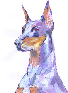 Doberman Pinscher Painting Portrait  Original by OscarJetson, £42.99
