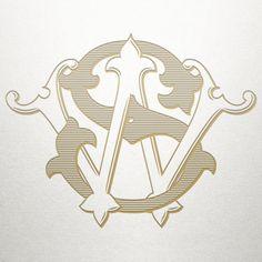 Antique Ornamental Monogram SW WS Ornamental by ShulerStudio
