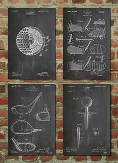 Golf Patent Posters Group of 4 Golf Gifts for Men by PatentPrints