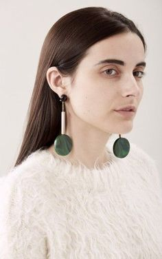 White Fuzzy Sweater, Big Jade Earrings