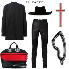 El Padre fashion set Clockwise: Shirt by Givenchy, Hat by OFF-WHITE, Crucifix Pin by Givenchy, Arcus carabiner keychain by SVORN, Trousers by Julius, 'Nightingale' bag by Givenchy