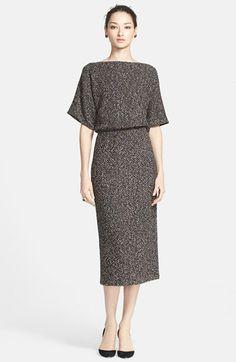 St. John Collection Mélange Bouclé Herringbone Knit Blouson Dress (Online Only) available at #Nordstrom
