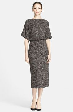 St. John Collection Mélange Bouclé Herringbone Knit Blouson Dress (Online Only) available at #Nordstrom